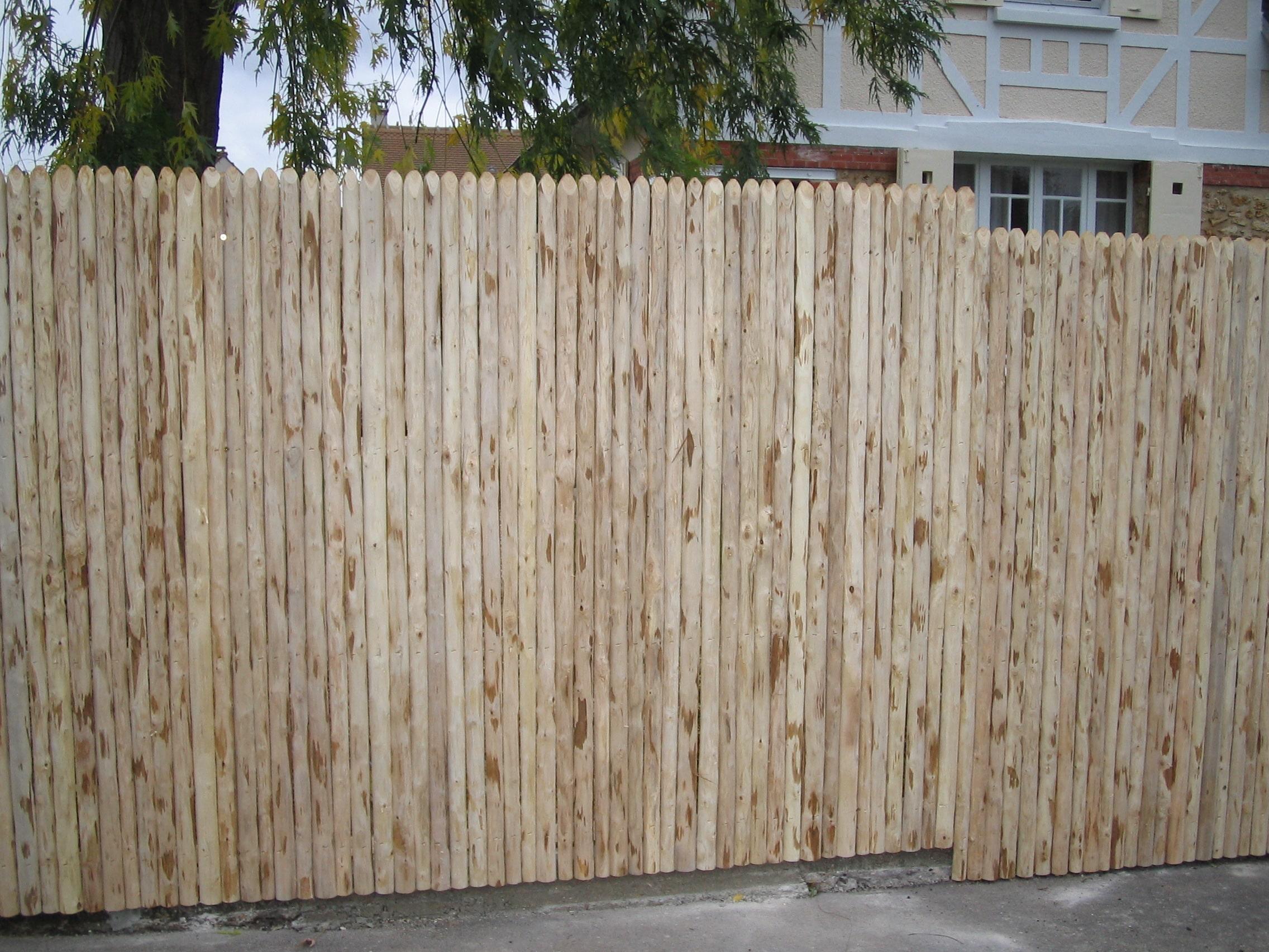 Cloture Bois Hauteur 2M50 clôture jointive en châtaignier - treillages martin